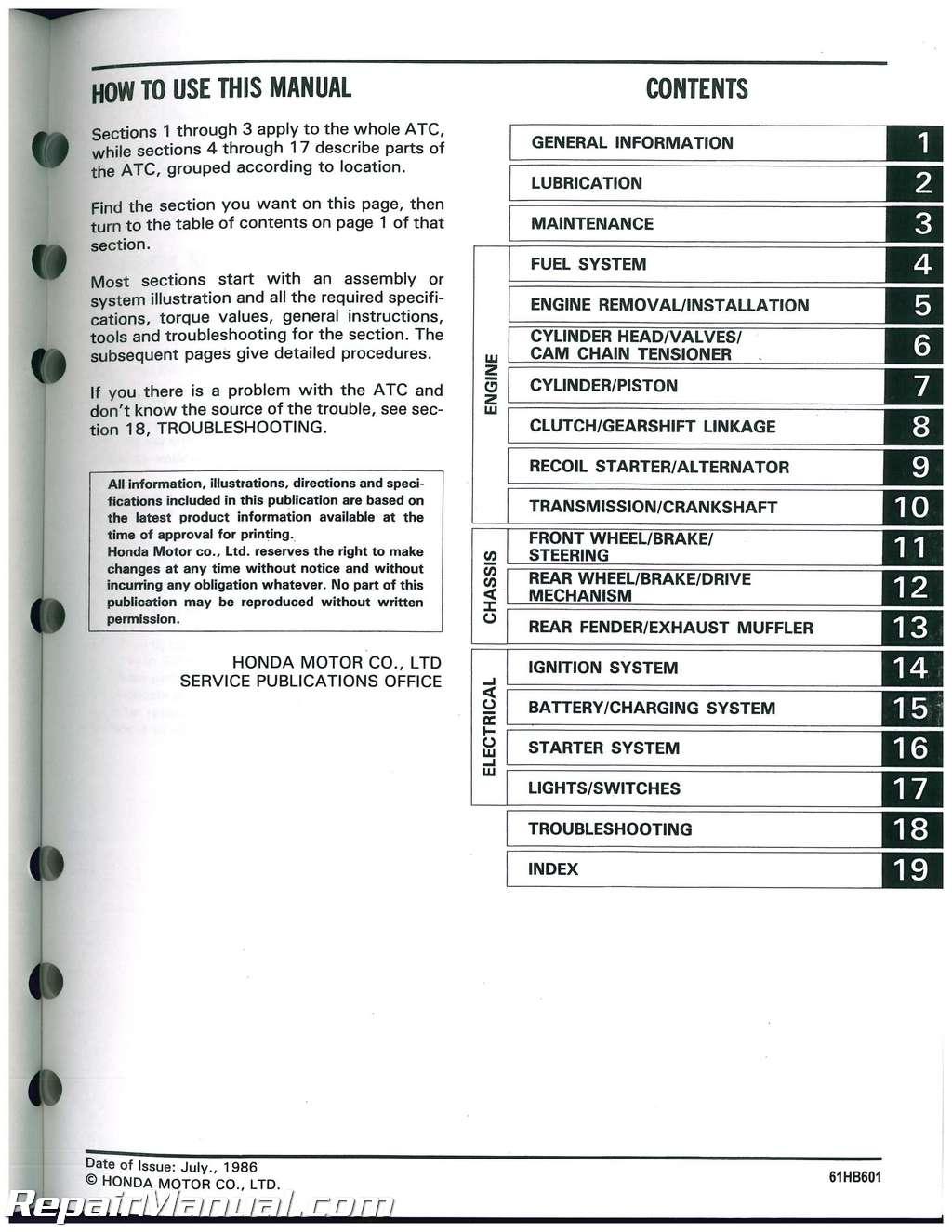 1986 1987 honda atc125m three wheeler service manual honda rancher 420 atv wiring diagram #14