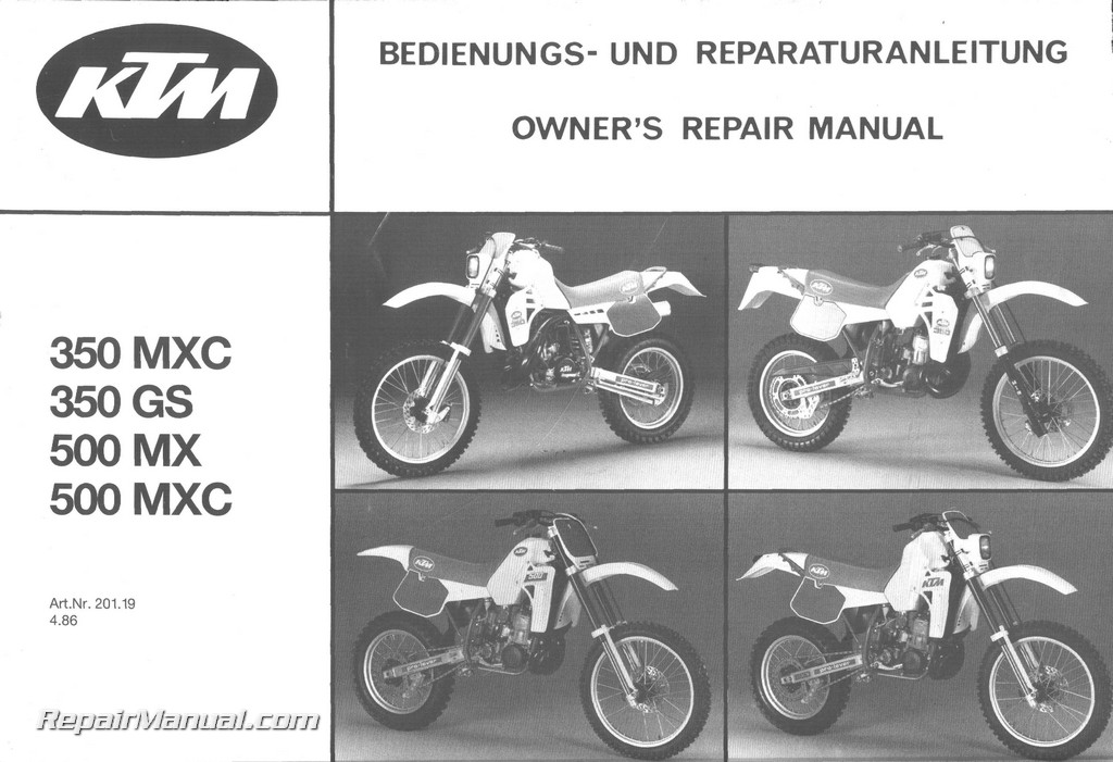 1986 1987 ktm 350 mxc 350 gs 500 mx 500 mxc owners repair manual rh repairmanual com ktm 350 manual pdf ktm 450 manual