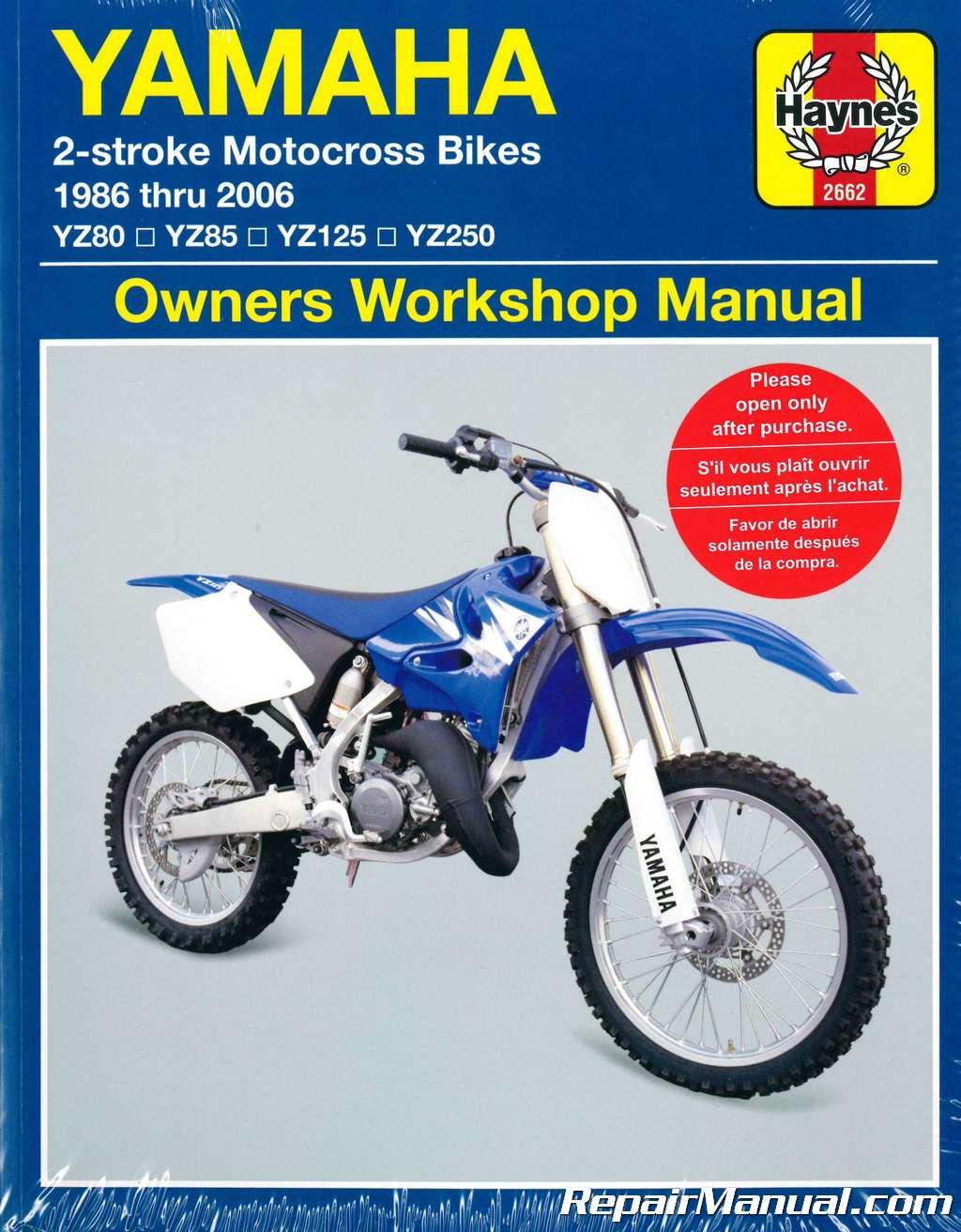 1986 2006 Yamaha Yz80 Yz85 Yz125 Yz250 Two Stroke Motorcycle Repair Manual
