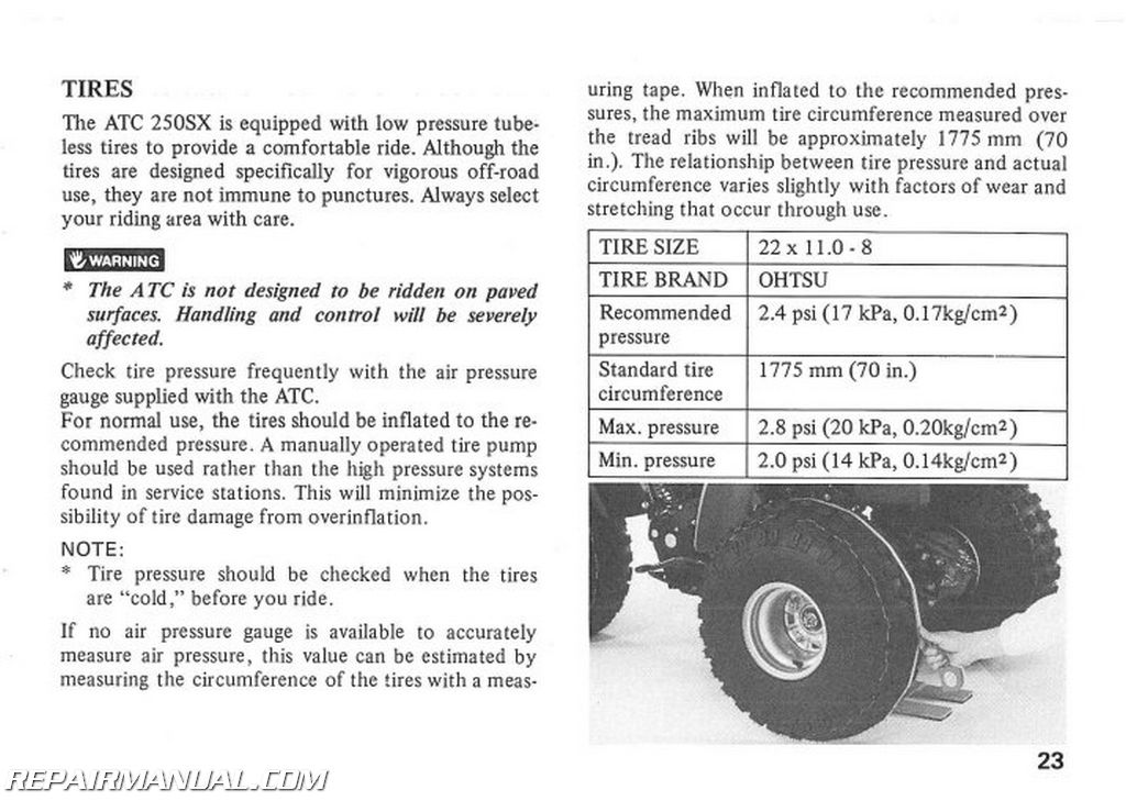 1986 Honda Atc250sx Atv Owners Manual