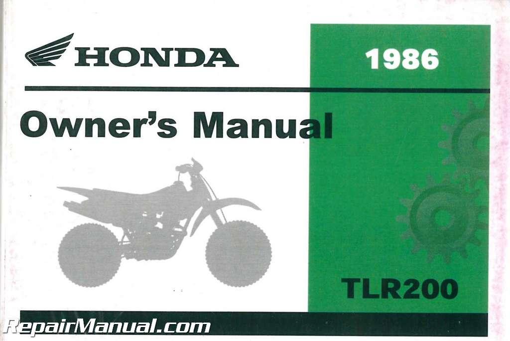1986 honda tlr200 reflex motorcycle owners manual. Black Bedroom Furniture Sets. Home Design Ideas