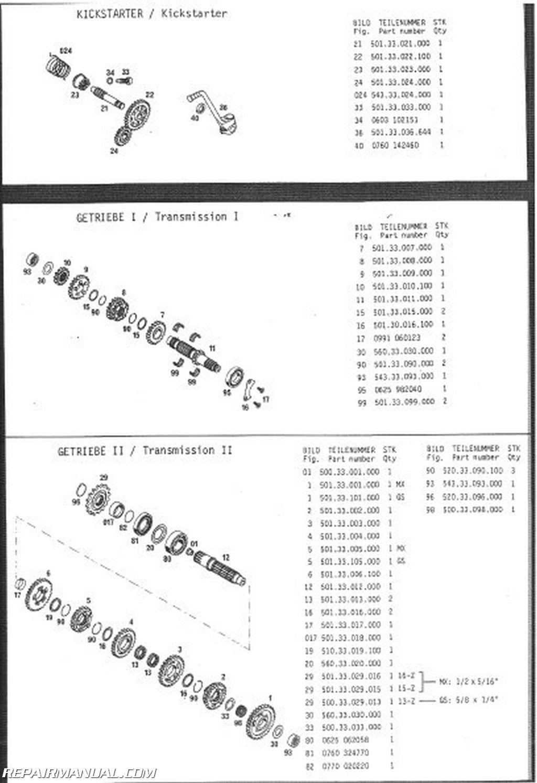 1986 ktm 125 gs mx mxc engine spare parts manual