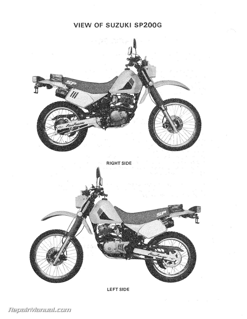 Suzuki Rv50 Motorcycle Service Manual Auto Electrical Wiring Diagram Dr250 1986 Sp200g Dr200