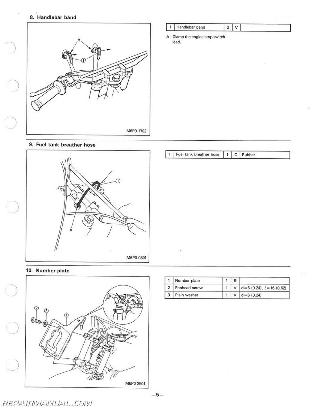 1986 yamaha yz125s yz250s yz490s assembly manual