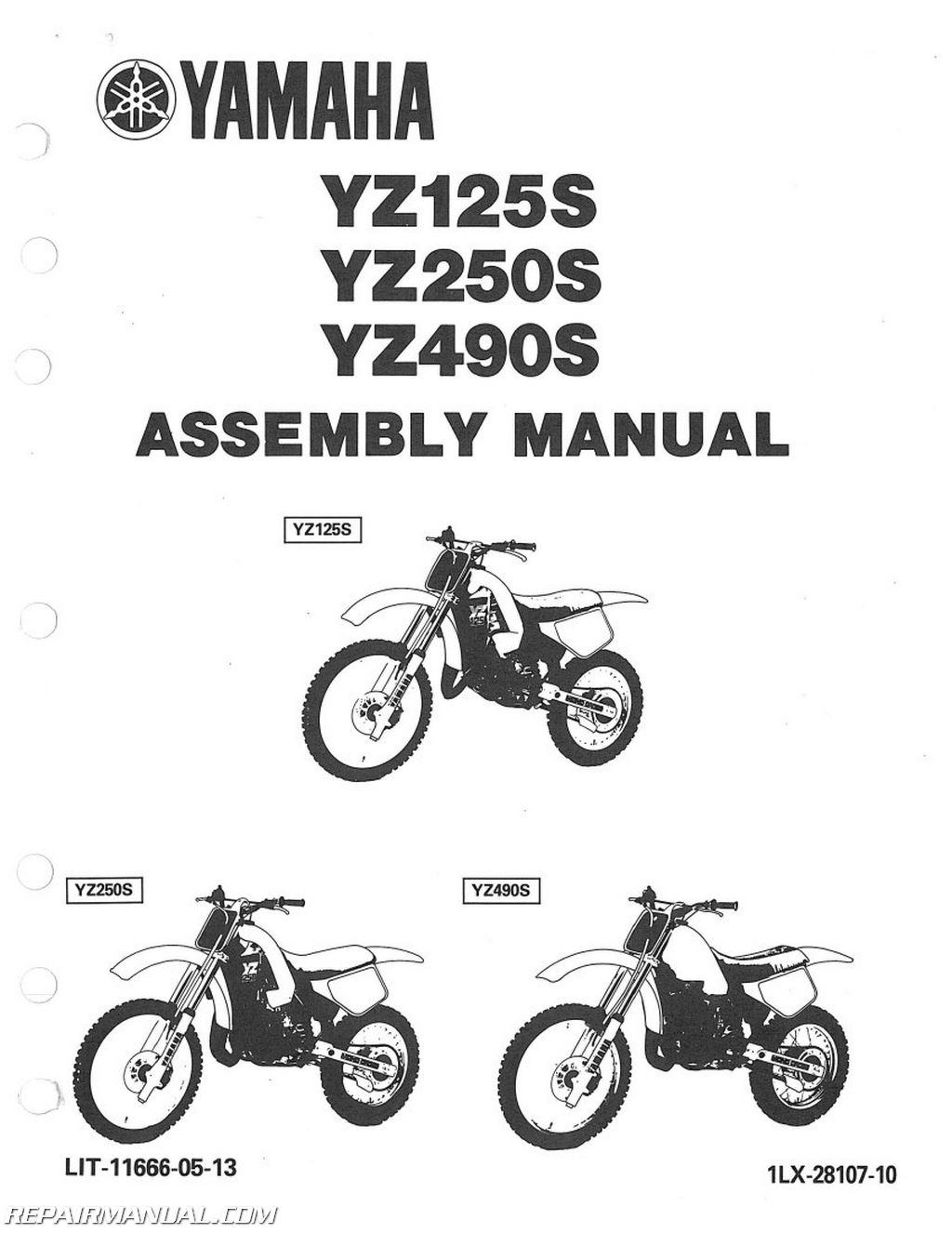 1986 yamaha yz125s yz250s yz490s assembly manual. Black Bedroom Furniture Sets. Home Design Ideas