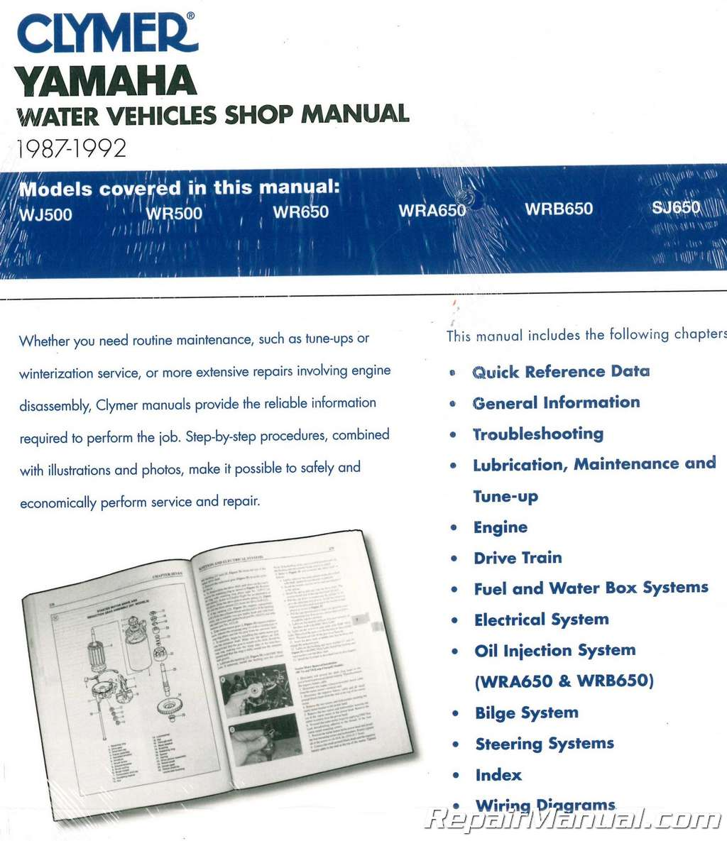 1987 1992 Clymer Yamaha Waverunner Wavejammer Personal Watercraft Schematics Repair Manual