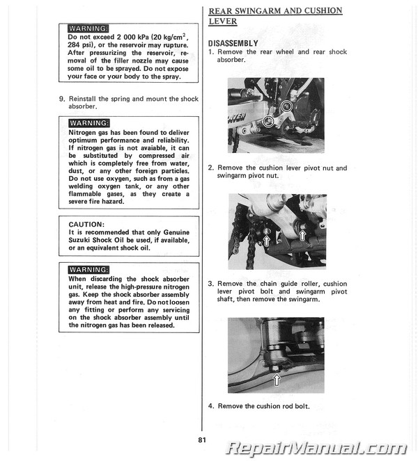 1987 suzuki rm250 motorcycle owners maintenance manual