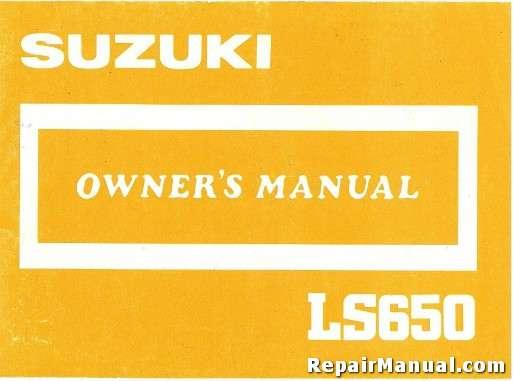 1987 suzuki ls650 motorcycle owners manual