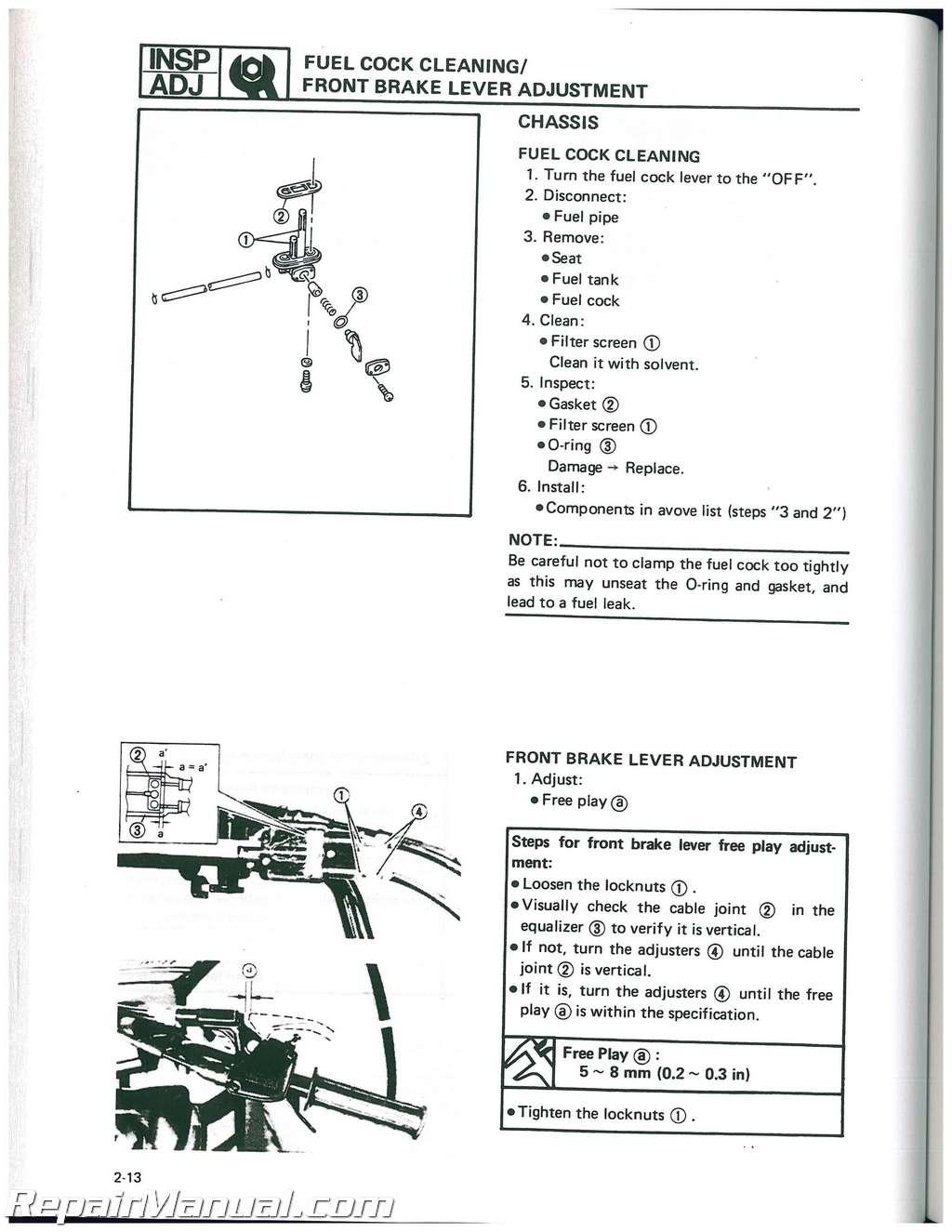 1988 1991 yamaha yfm100 moto 4 atv service manual. Black Bedroom Furniture Sets. Home Design Ideas