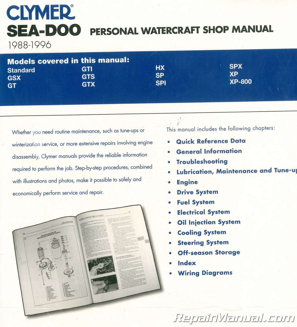 1988-1996 Clymer Sea-Doo Water Vehicles Service Manual
