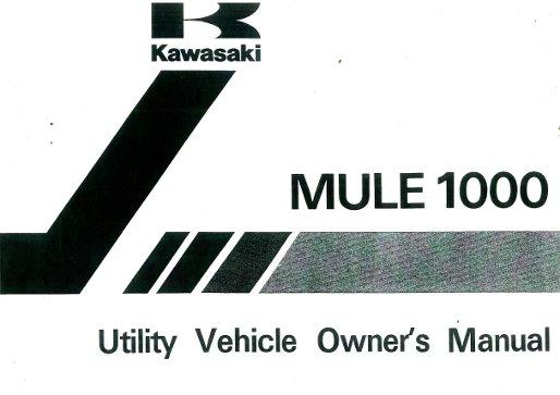 1988 kawasaki owners manual kaf450b1 mule 1000 sideside