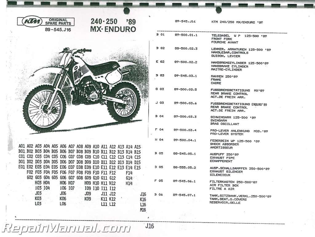 1989 ktm 240 250 mx enduro parts manual. Black Bedroom Furniture Sets. Home Design Ideas