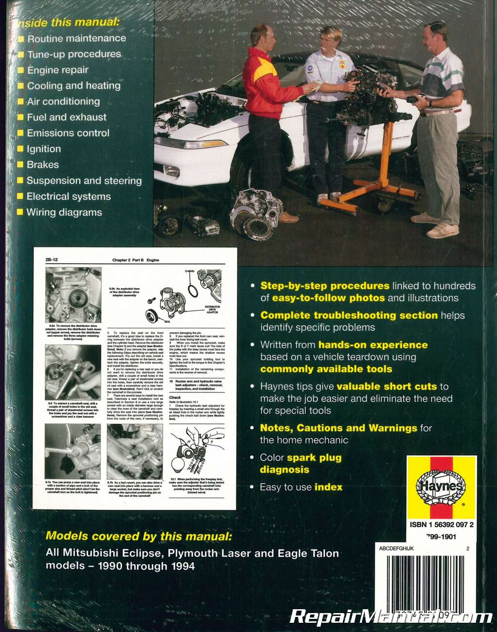 1990-1994 Haynes Mitsubishi Eclipse Plymouth Laser Eagle Talon Auto Repair  Manual