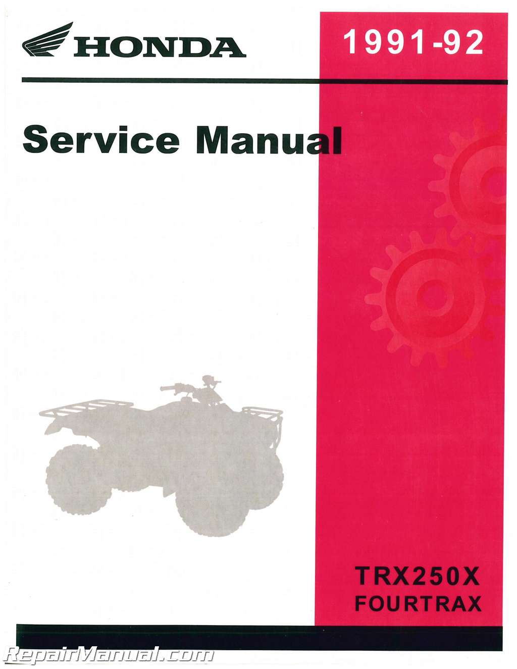 1991 1992 Honda TRX250X Fourtrax Service Manual