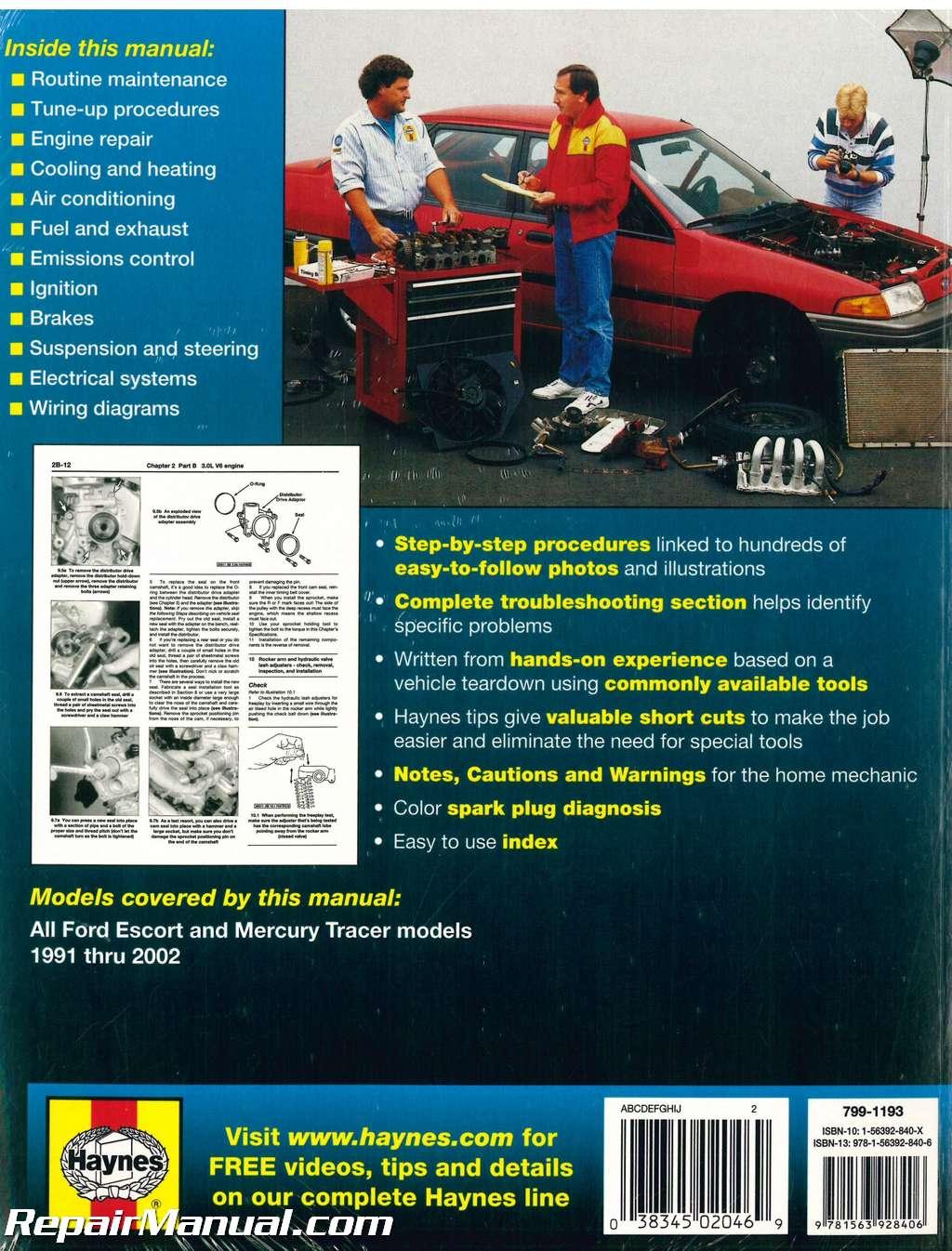 [DIAGRAM_1CA]  1991-2002 Ford Escort and Mercury Tracer Automobile Repair Manual by Haynes | 1991 Mercury Tracer Diagram Wiring Schematic |  | Repair Manuals Online