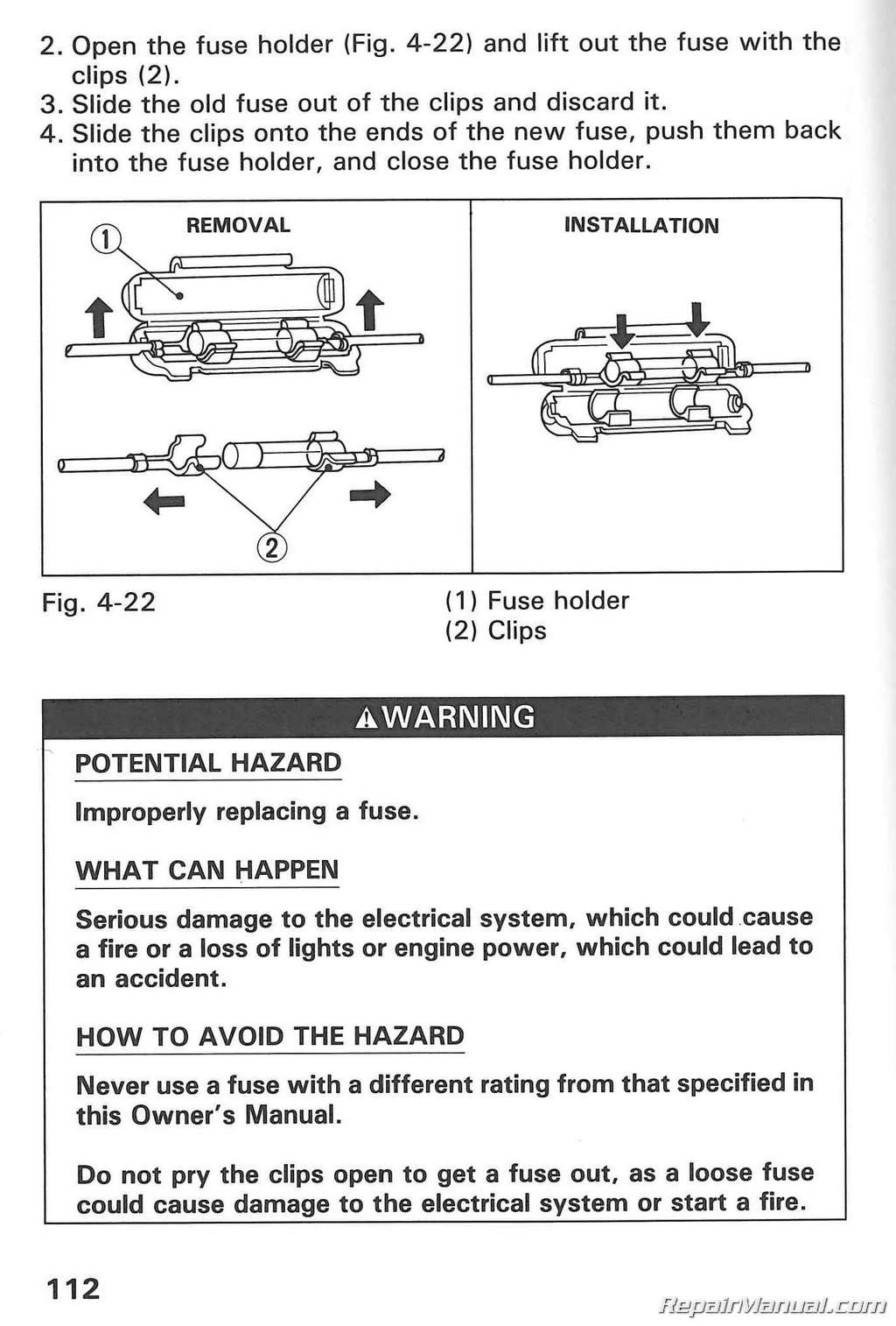 1991 Honda Trx200d Fourtrax 200 Type Ii Atv Owners Manual