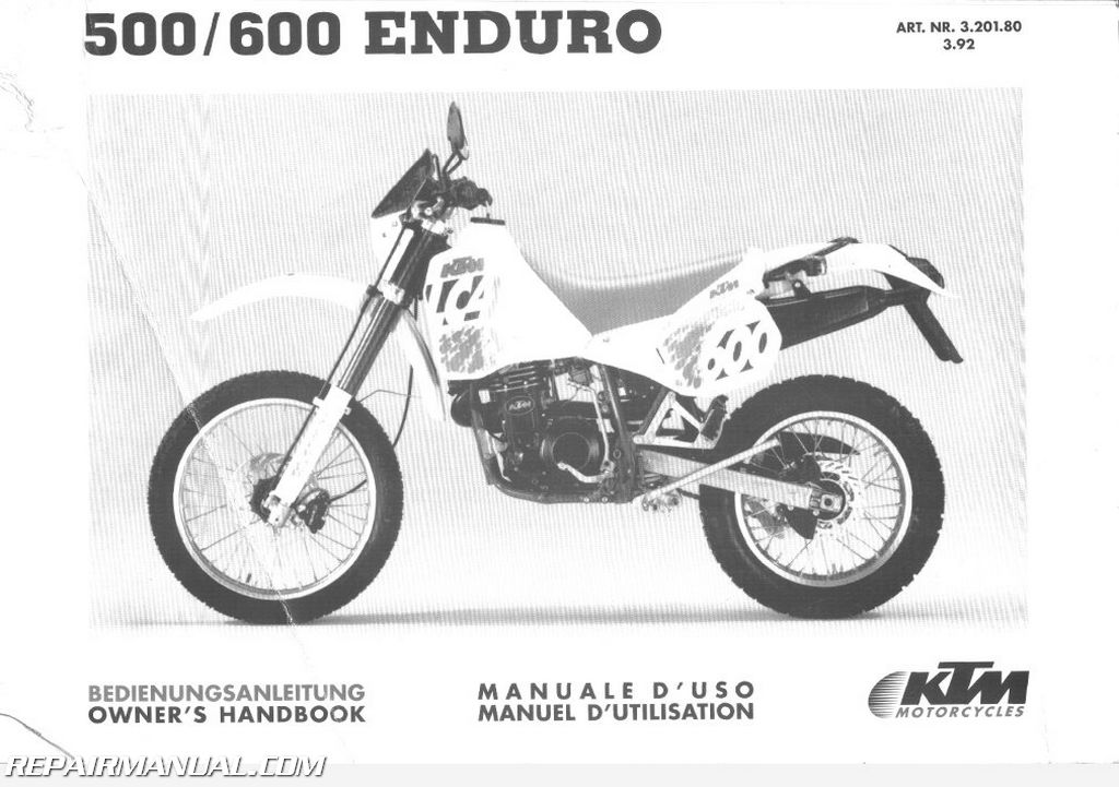 1992 ktm 500 600 lc4 motorcycle owners manual chassis manual. Black Bedroom Furniture Sets. Home Design Ideas