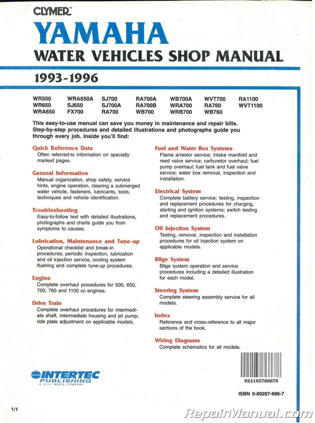 USED 1993-1996 Yamaha Waverunner Clymer Personal Watercraft Service Manual