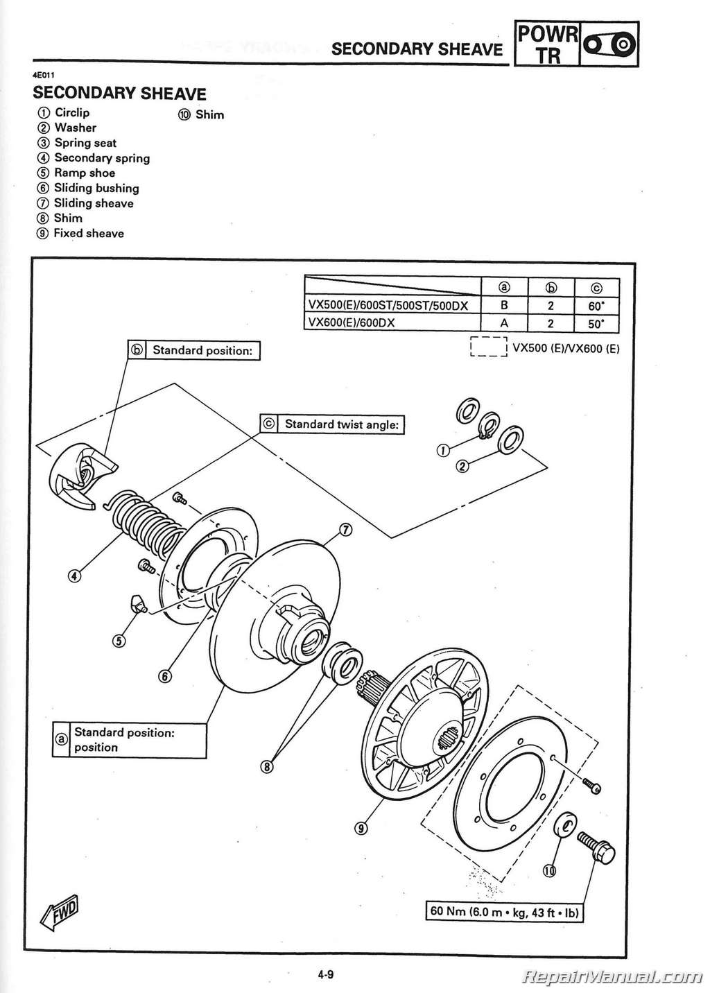 1994 1996 Yamaha V Max 500 Vx500 And 600 Vx Snowmobile Kodiak Carburetor Diagram Wiring Schematic Service Manual