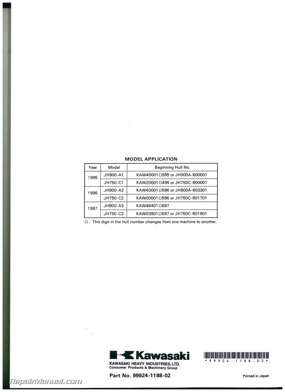 1995 1997 Kawasaki Jet Ski 900 750 Zxi Factory Service Manual