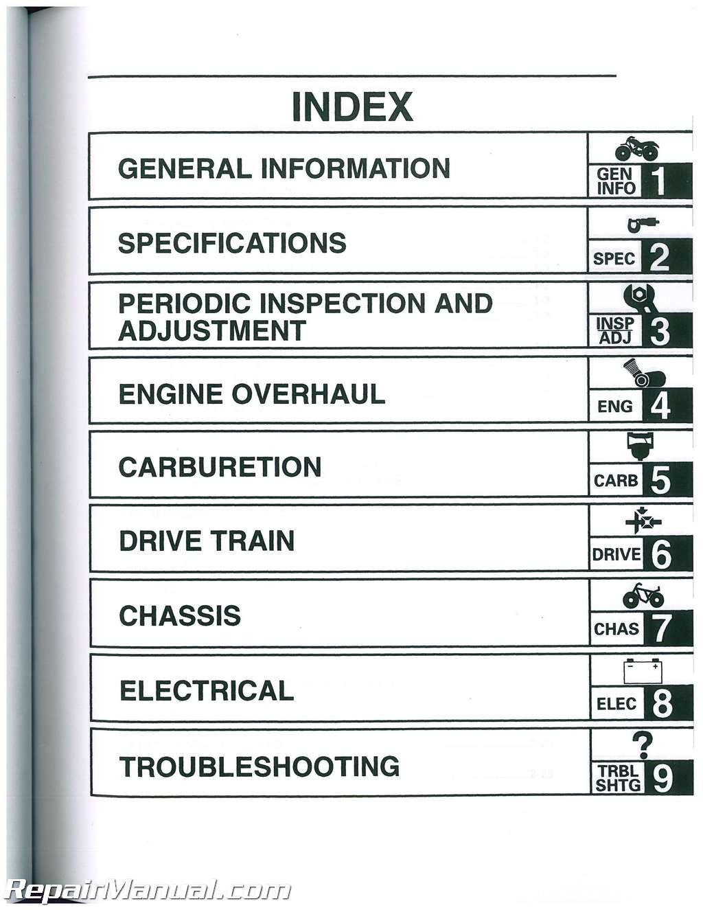 2001 yamaha wolverine 350 service manual