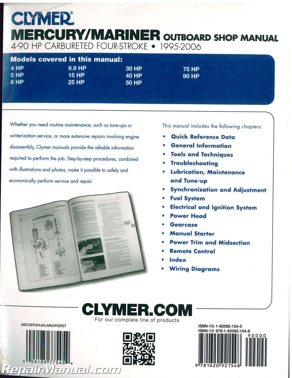 1995-2006 Mercury-Mariner 4-90hp Outboard Repair Manual by Clymer on mariner 115 hp wiring diagram, mariner 70 hp wiring diagram, mariner 75 hp wiring diagram, mariner 25 hp wiring diagram, mariner 8 hp wiring diagram, mariner 60 hp wiring diagram,