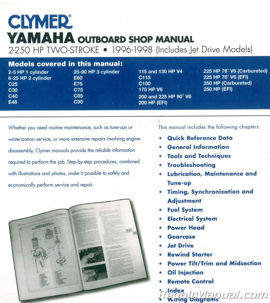 1996 1998 Yamaha 2 250 Horsepower Two Stroke Outboard Boat Engine Jet Wiring Repair Manual