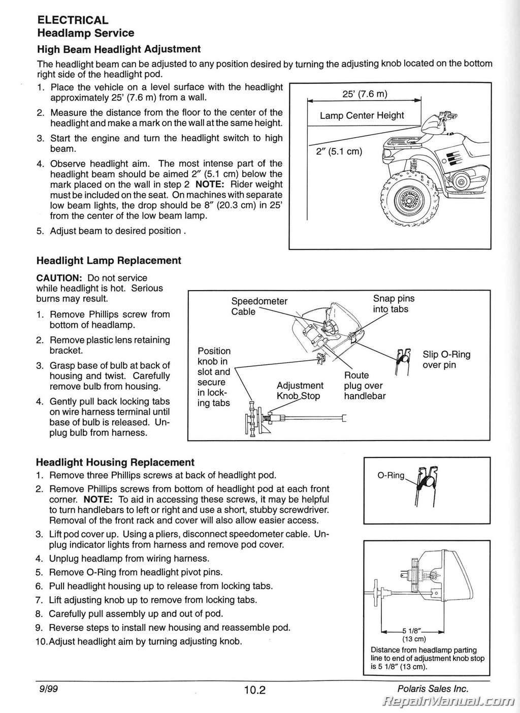 19962000    Polaris    Sportsman 335    500    ATV Service Manual