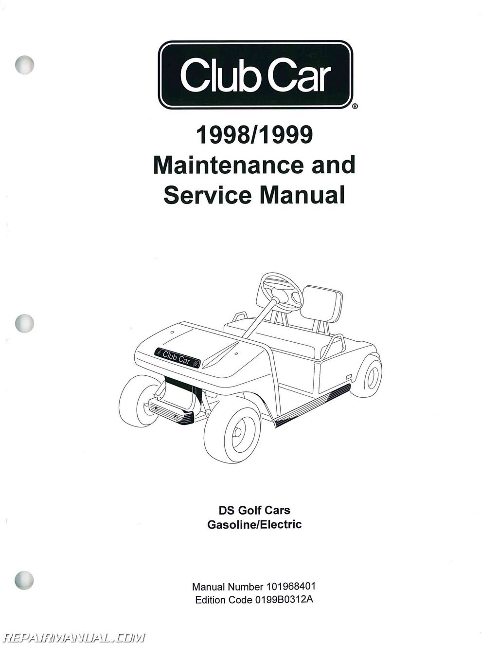 Club Car Golf Cart Wiring Diagram For 1999 Ds 1998 Service Manual 2000