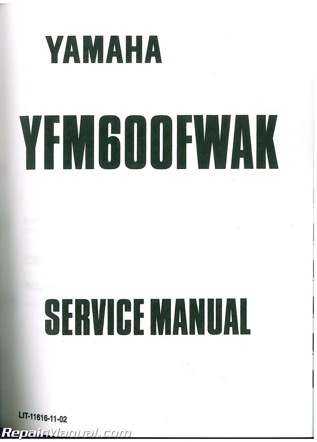 1998 2001 yamaha yfm600 grizzly atv service manual lit. Black Bedroom Furniture Sets. Home Design Ideas