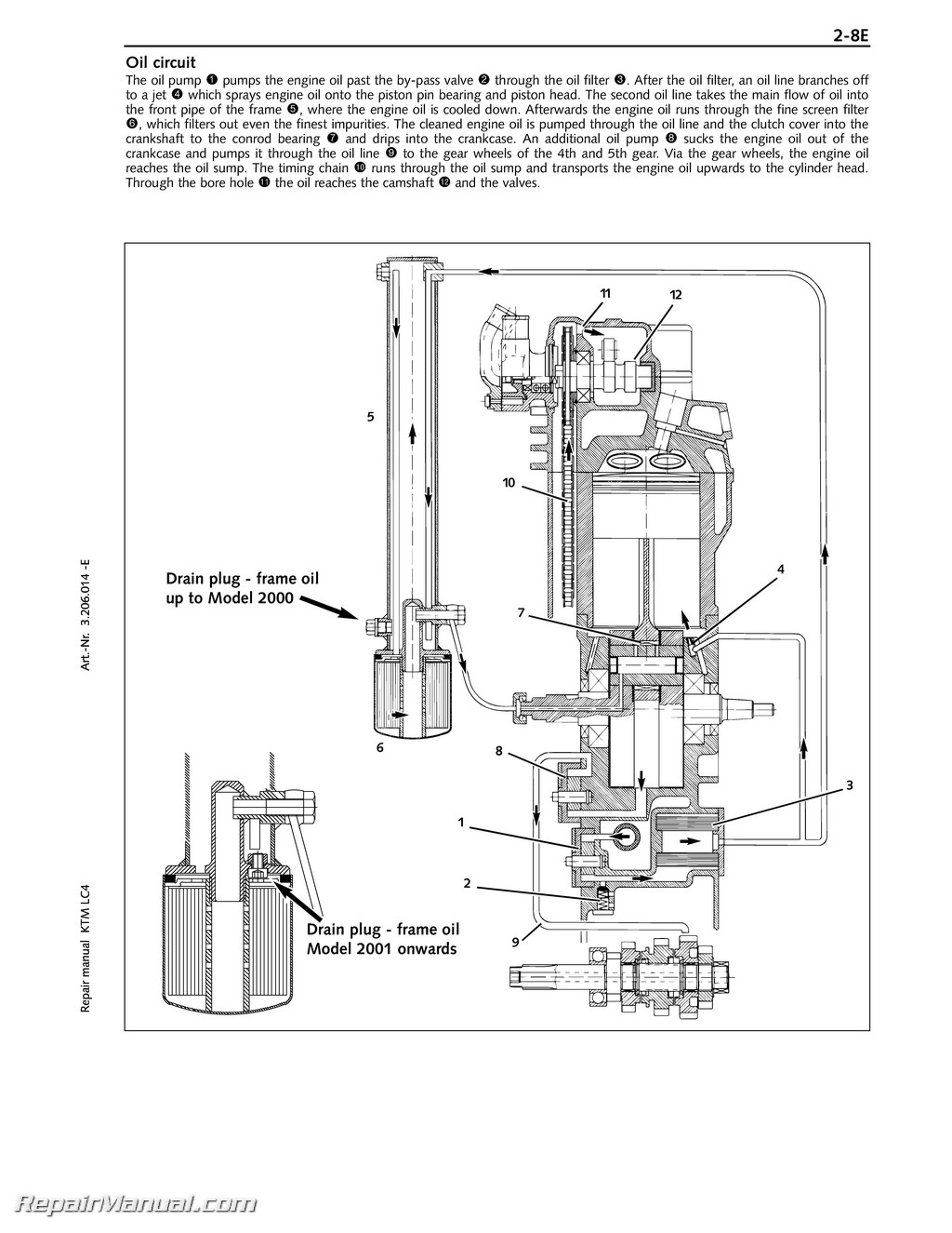 1998-2005 KTM 400-660 LC4 Paper Engine Repair Manual on