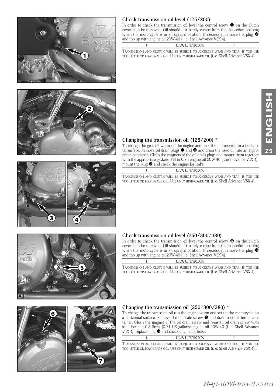 1998 ktm 125 200 250 300 380 sx mxc exc egs motorcycle owners handbook