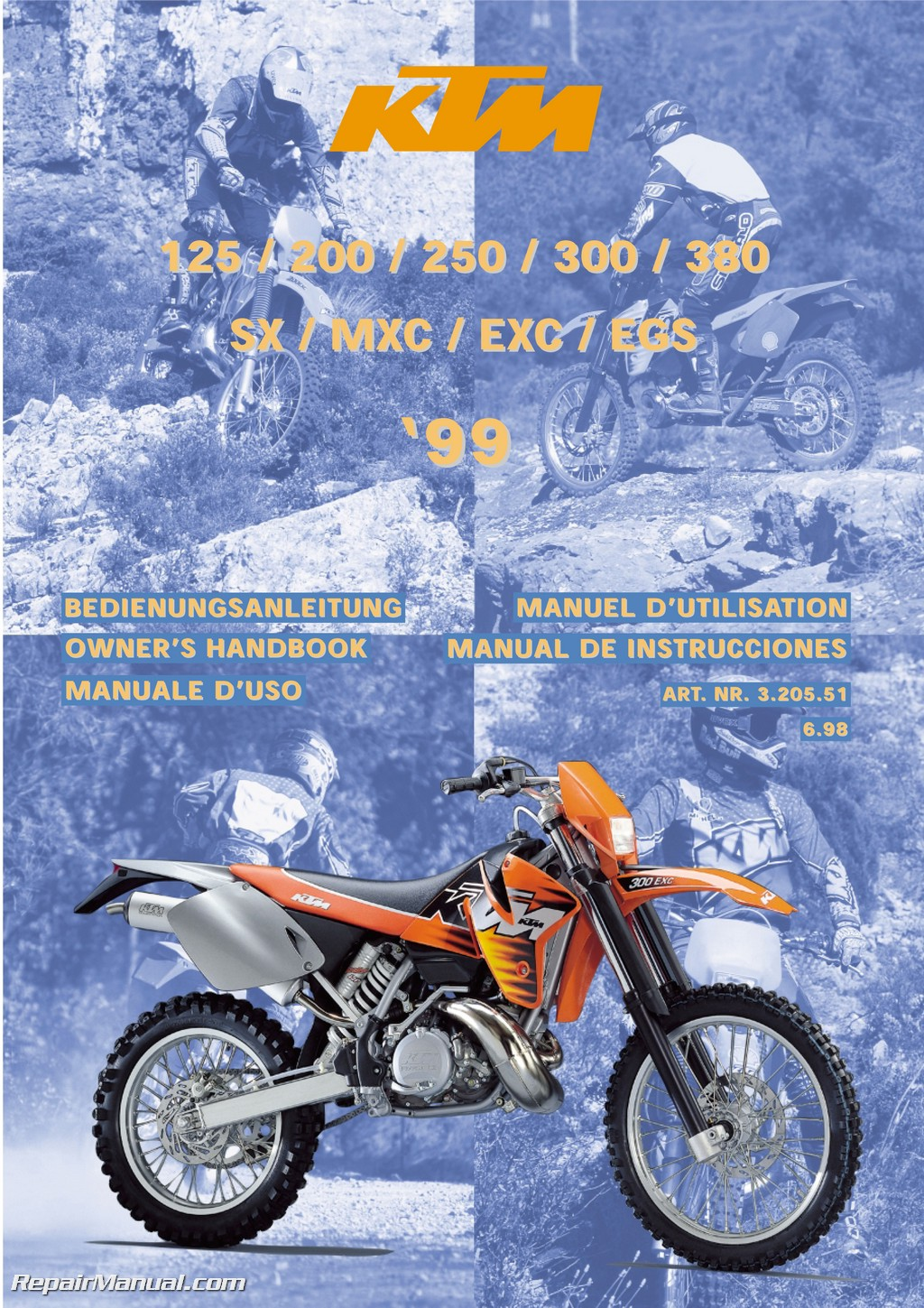 1999 ktm 125 200 250 300 380 sx mxc exc egs motorcycle owners manual rh  repairmanual com 1996 KTM EXC 300 Brake Fluid 1998 KTM 300 EXC