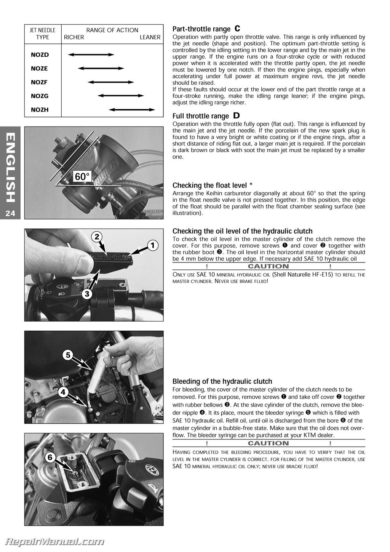 1999 ktm 125 200 250 300 380 sx mxc exc egs motorcycle owners manual