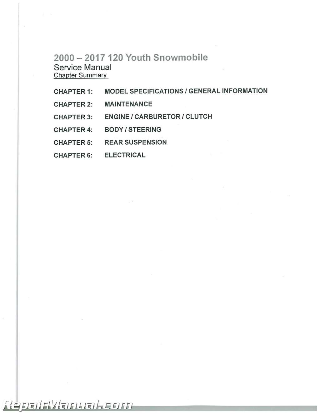 2000 – 2017 Polaris Youth 120 Snowmobile Service Manual