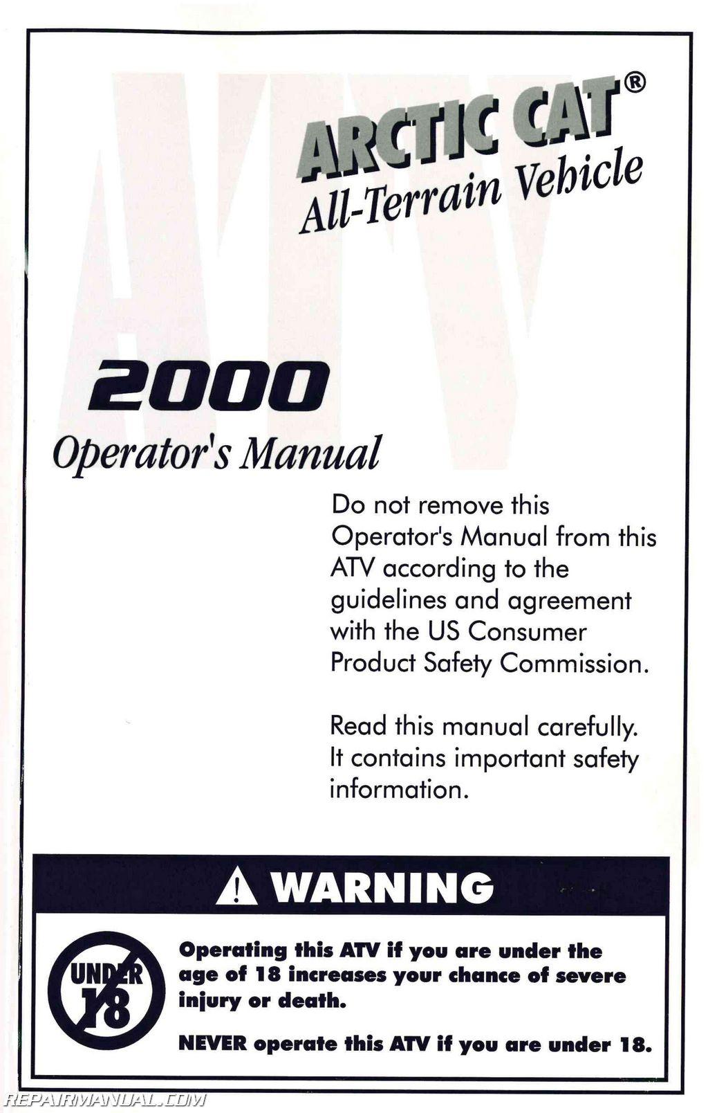2000 arctic cat atv owners manual rh repairmanual com 2000 arctic cat atv owners manual 2000 arctic cat 500 atv owners manual