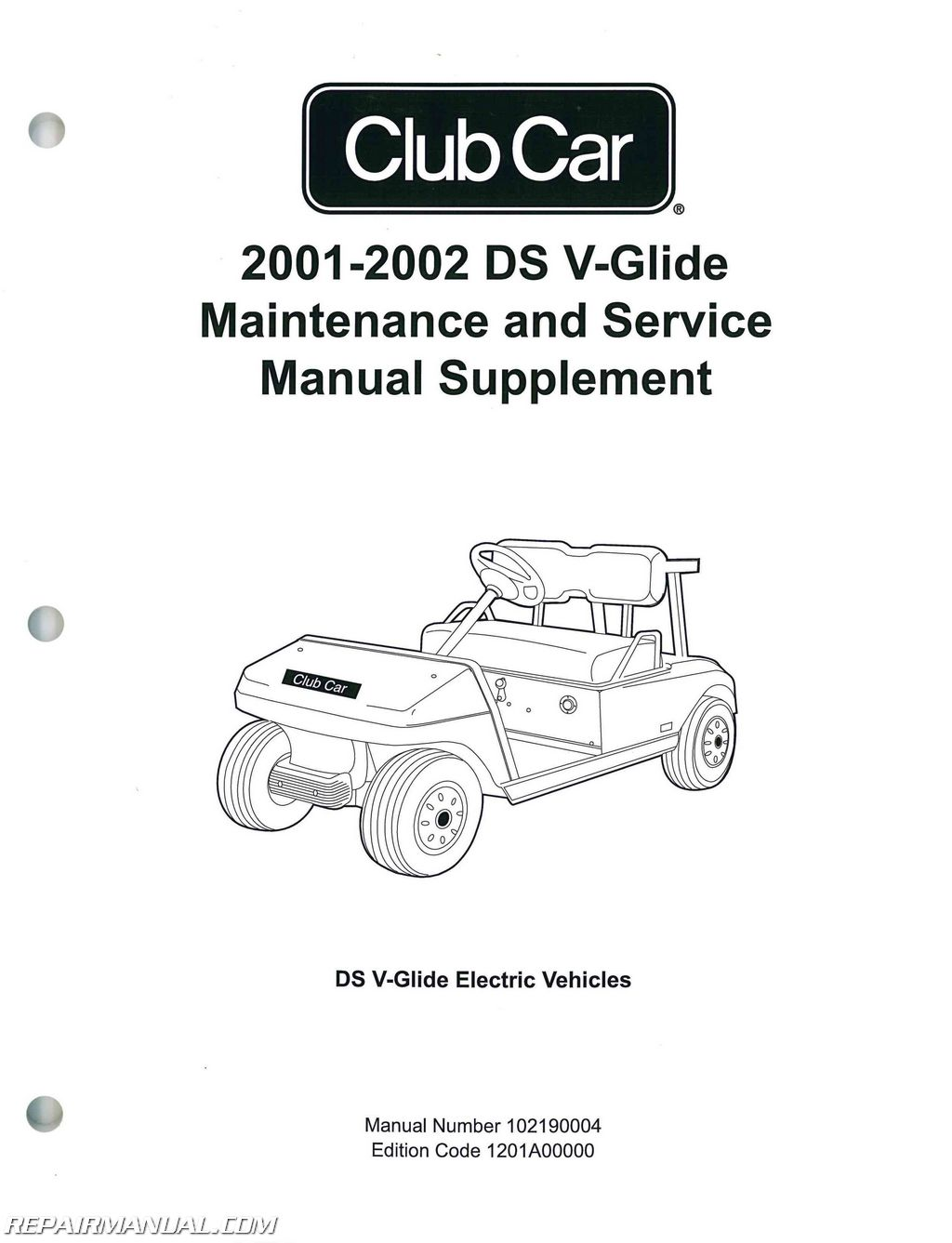 2001-2002 Club Car DS V-Glide Golf Car Maintenance And Service Manual  Supplement