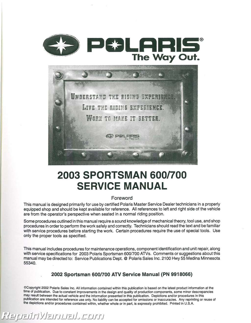 polaris sportsman 700 twin 600 atv 2003 2002 service manual factory repairmanual repair manual001