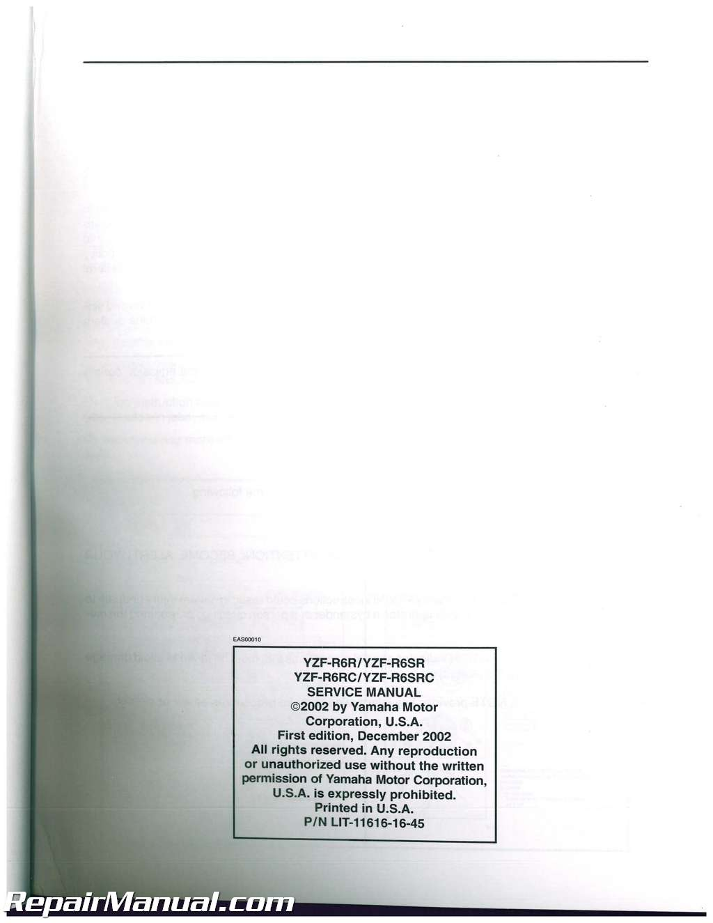 2003-2005 Yamaha YZF-R6 and 2006-2009 YZF-R6S Service Manual
