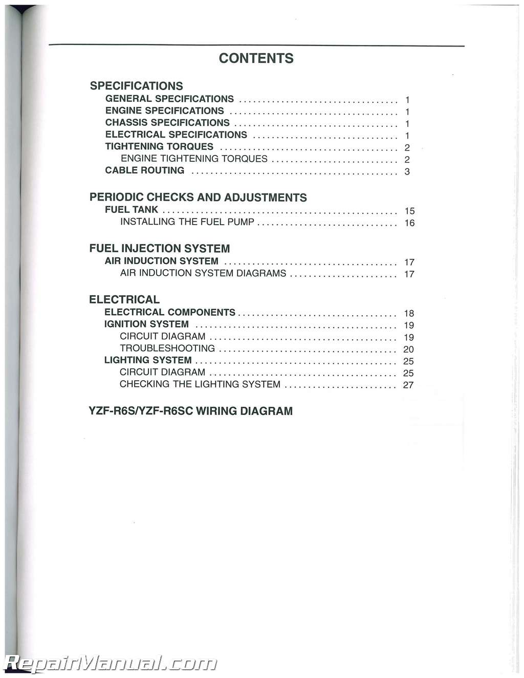 2003 2005 Yamaha Yzf R6 And 2006 2009 R6s Service Manual Wiring Diagram