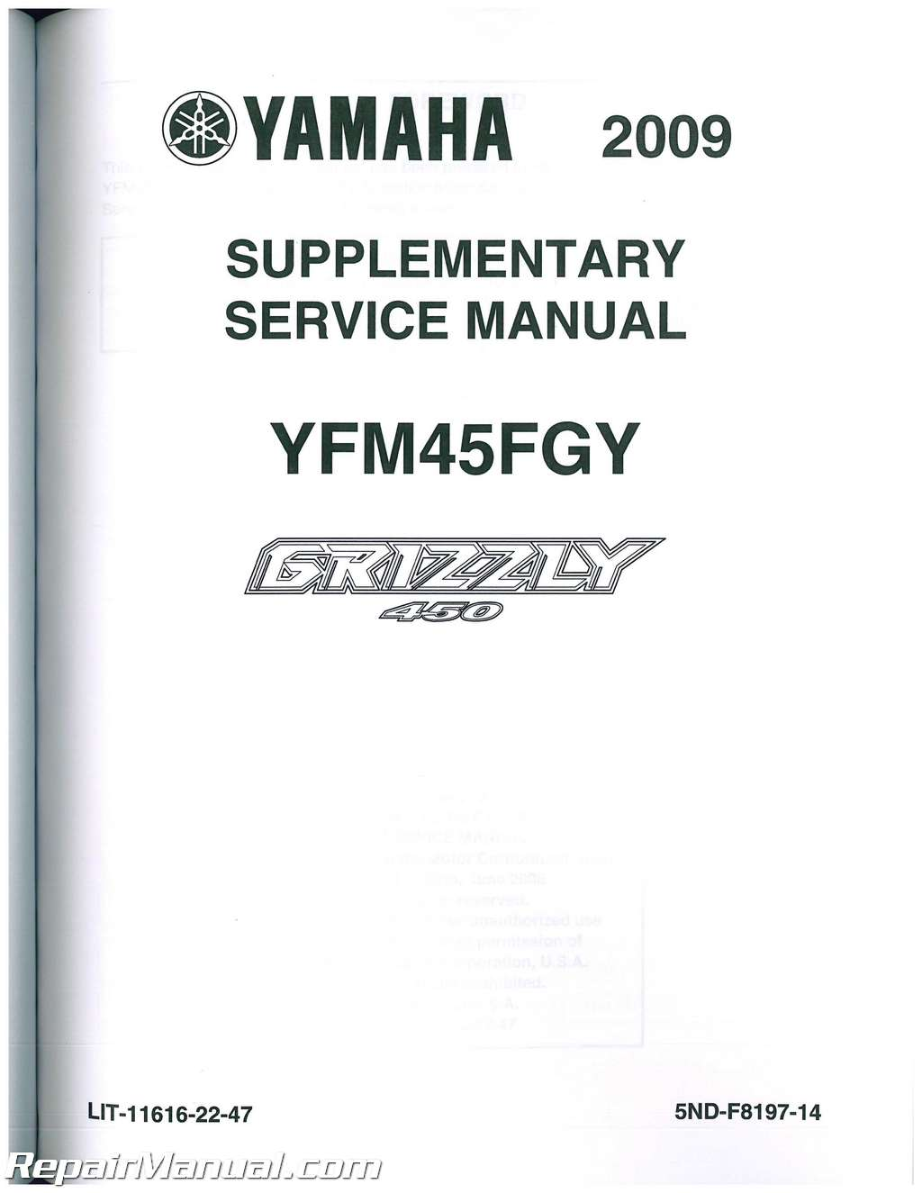 Yfm450f yamaha kodiak 450 atv service manual 2003-2004.