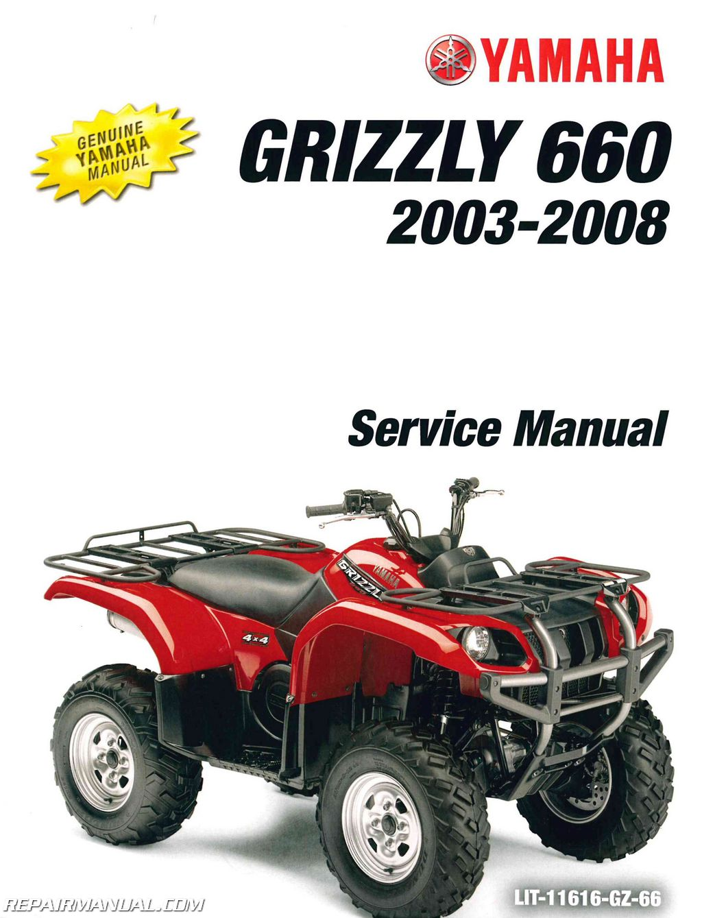 Yamaha Grizzly 660 >> YFM660FA Grizzly 660 Yamaha ATV Service Manual 2003-2008