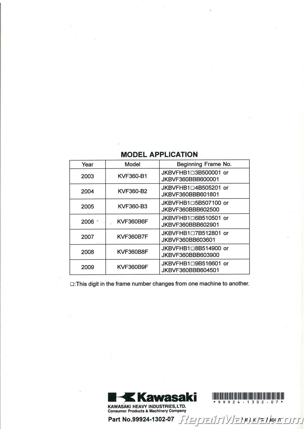 2003 2009 kawasaki kvf360b prairie atv service manual. Black Bedroom Furniture Sets. Home Design Ideas