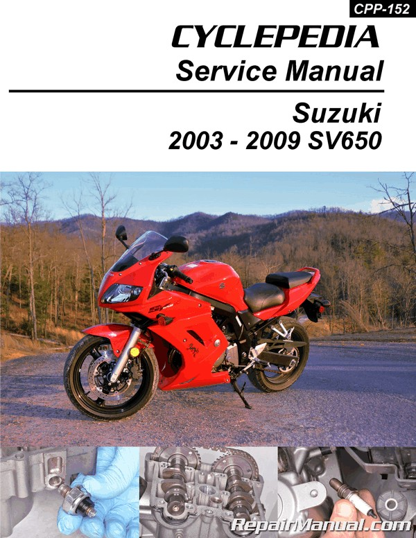 2003 2009 suzuki sv650 motorcycle service manual by cyclepedia rh repairmanual com suzuki sv 650 service manual 2003 2001 SV650