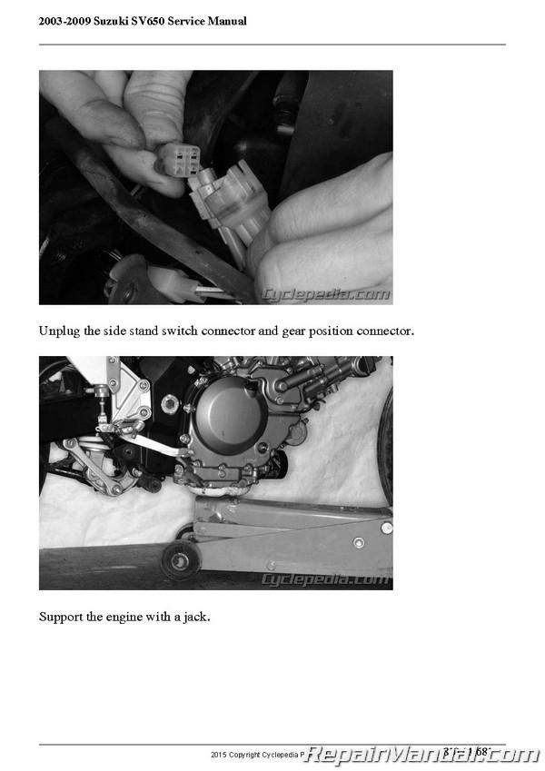 2003 2009 suzuki sv650 motorcycle service manual by cyclepedia rh repairmanual com 2008 SV650 2006 SV650