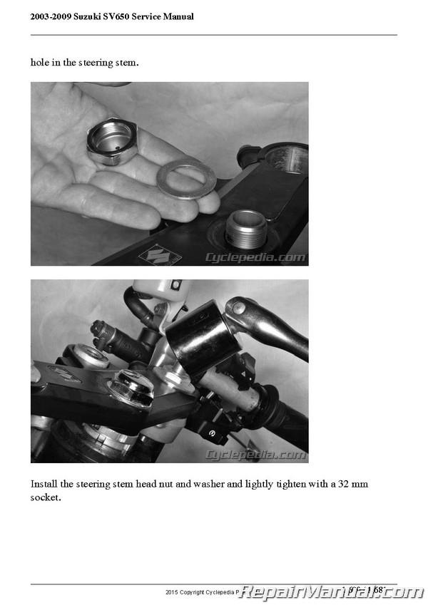 2003 2009 suzuki sv650 motorcycle service manual by cyclepedia rh repairmanual com suzuki sv 650 service manual pdf 2017 suzuki sv650 service manual pdf
