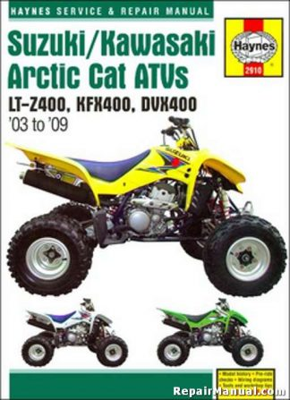 2003-2009 Suzuki LT-Z400 Kawasaki KFX400 Arctic Cat DVX400 Repair Manual