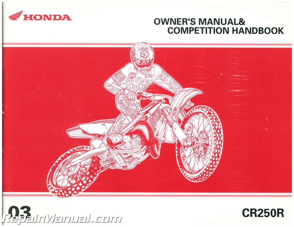 2003 Honda Cr250r Motorcycle Owners Manual Competition