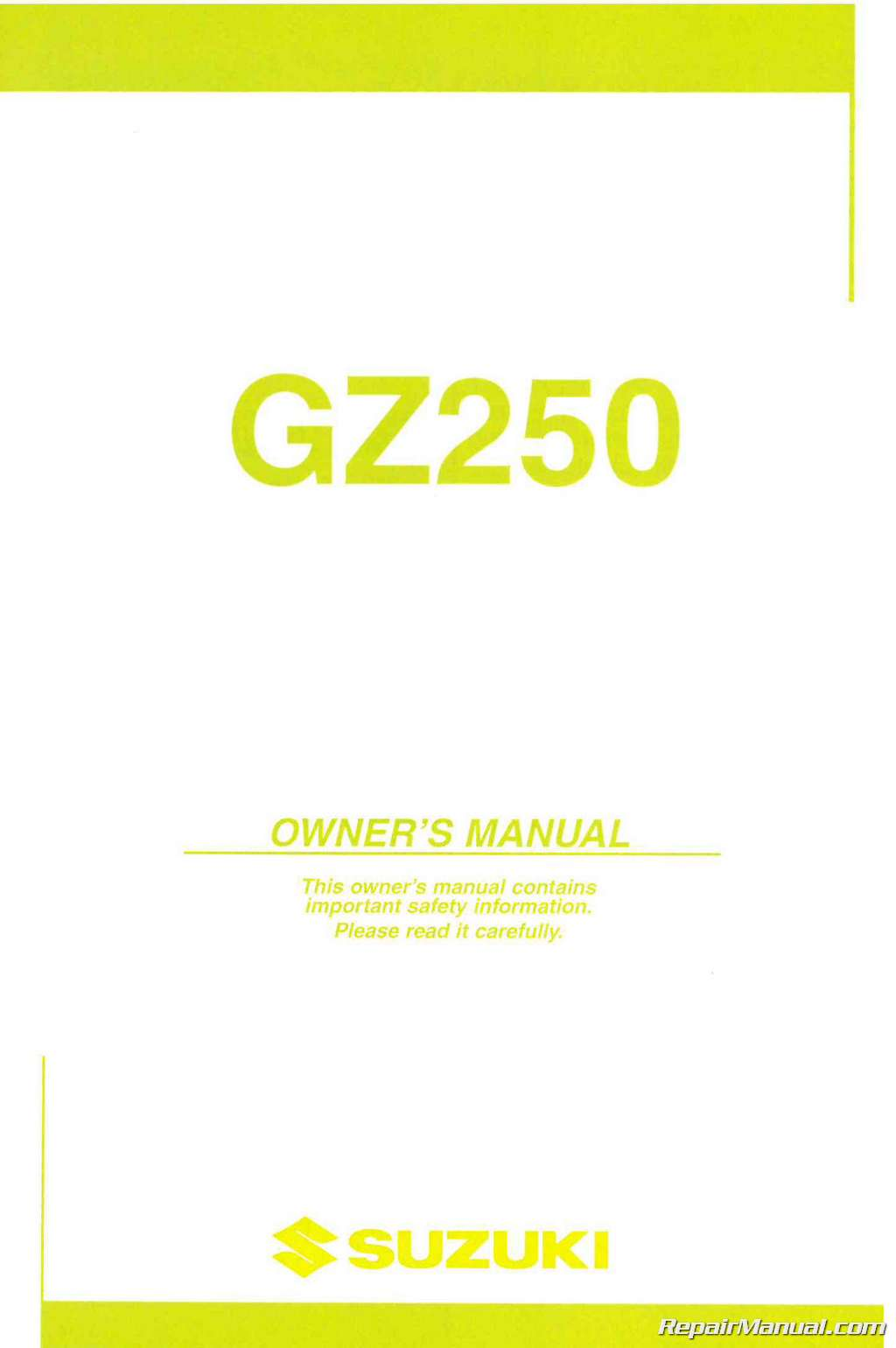 Suzuki Gz250 Service Repair Manual