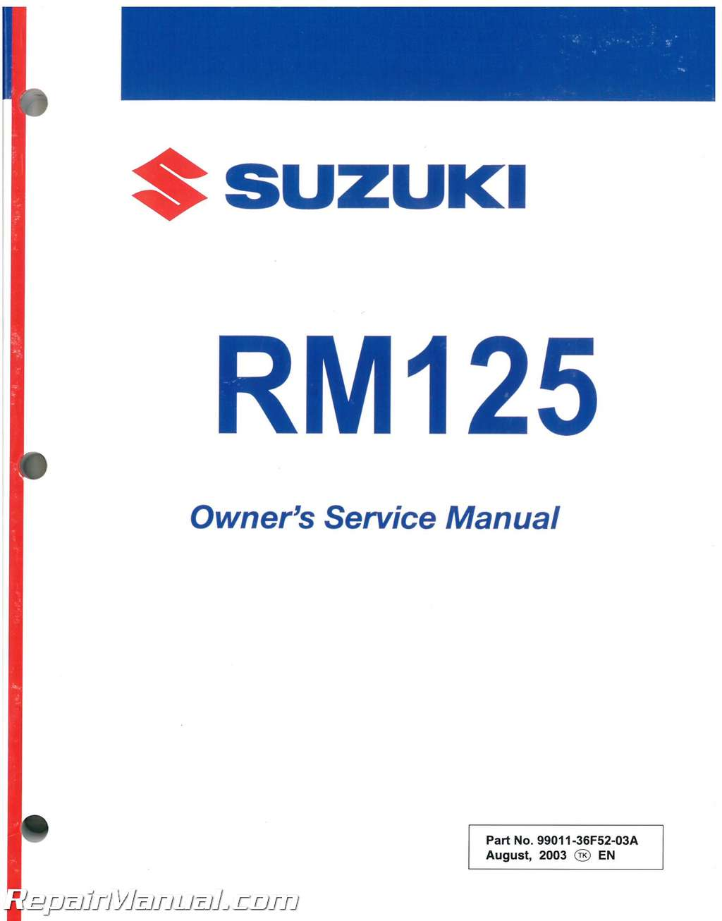2003 suzuki rm125k3 motorcycle service manual owners manual rh ebay com suzuki motorcycle owners manual pdf Suzuki Parts Manual